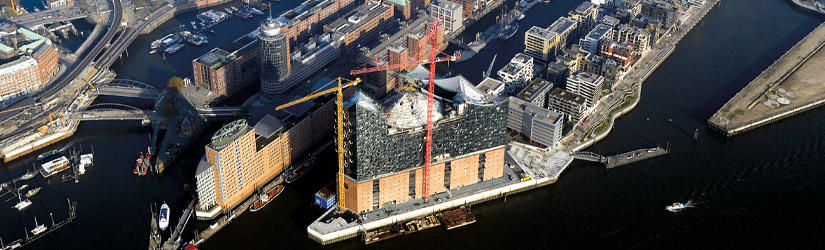 Hamburg harbour with the Elbphilharmonie from the air